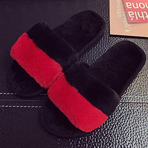 Inicio Zapatillas Mujer Felpa Suave Comodidad Zapatos para Mujer Mujeres Punta Abierta CáLidas Chanclas Piso Interior Zapatillas Poco Profundas