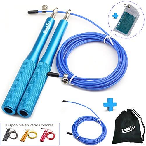 InnoTi Comba de Crossfit para Hombre y Mujer - Cuerda de Saltar de Alta Velocidad para Boxeo y Fitness - Comba de Alumino Ligera Saltos Dobles - Ajustable y con Cable Extra de Repuesto (Azul)