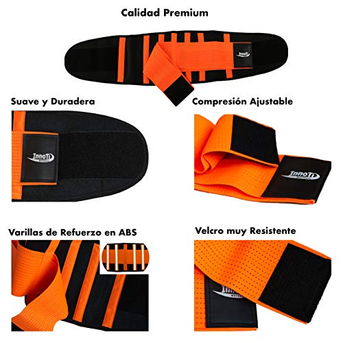 InnoTi Faja Lumbar para Hombre y Mujer - Cinturón Protector de los Lumbares en Actividades Deportivas, el Gimnasio y en el Trabajo - Evita Lesiones y Dolor de Espalda - Compresión de Doble Ajuste