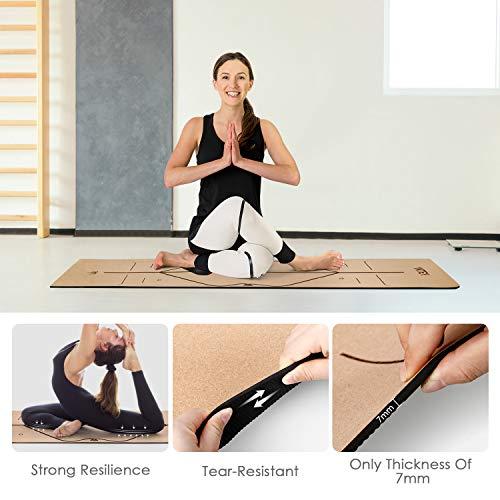 INTEY Esterilla de Yoga de Corcho Antideslizante, Superior TPE Antideslizante Colchonetas de Pilates con Línea Auxiliar 183 x 66 x 7mm, con Bandolera