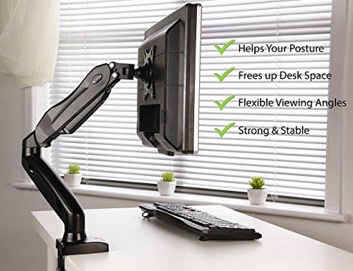 """Invision Soporte Monitor de PC para Pantallas de 17-27"""" - Montaje Ergonómico de Escritorio de Brazo Ajustable en Altura con Giratorio y Inclinación - VESA 75mm y 100mm - Peso 2 kg a 6.5 kg (MX150)"""