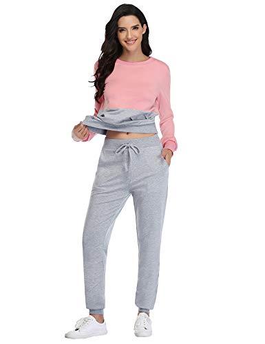 Irevial Sudadera y Pantalón de Sudor para Mujer Conjunto de Chándal Deportivos Completos Trajes Deportiva Manga Larga para Fitness Yoga Jogging Casual Deportes de Ropa en Casa
