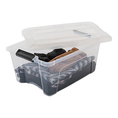 Iris Ohyama New Top Box NTB-15 - lote de 3 cajas apilables de almacenamiento, Transparente, 15 L