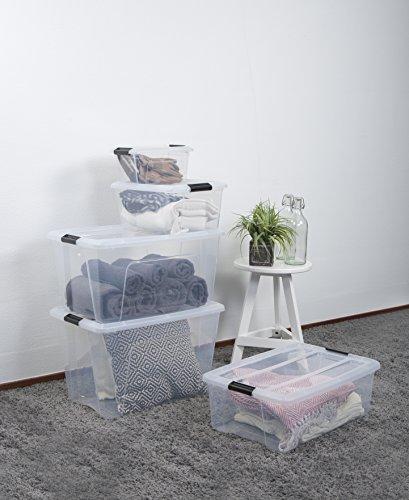 Iris Ohyama New Top Box NTB-5 - Cajas de Almacenamiento Apilables, Transparente, 5 L, Lote de 6