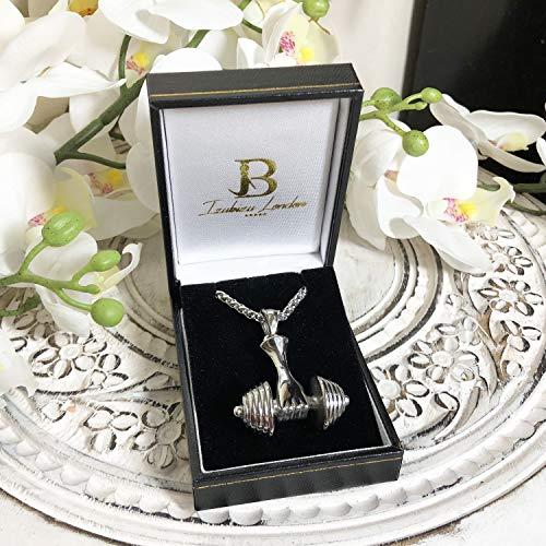 Izubizu London – Collar para hombre acera inoxidable plata color pesa apasionado gimnasio peso colgante caja de regalo, 55cm