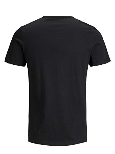 Jack & Jones Jacbasic Crew Neck tee SS 2 Pack Camiseta, Negro (Black Black), Large (Pack de 2) para Hombre