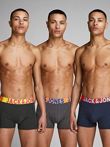 Jack & Jones Jaccrazy Solid Trunks 3 Pack Noos Bóxer, Negro (Black Detail: Navy Blazer & Black), Medium para Hombre