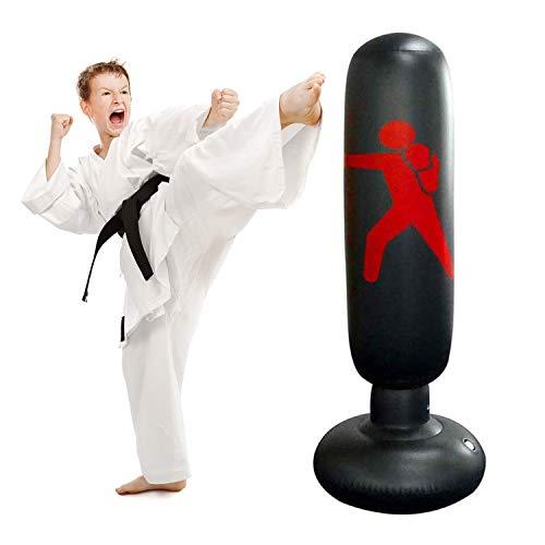 JanTeelGO Saco de Boxeo, Saco de Boxeo de pie de 160 cm para un Rebote inmediato para Practicar Karate, Taekwondo y aliviar Pent Up Energy en niños (Negro-C)