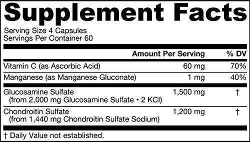 Jarrow Formulas Glucosamine y Chondroitin - 240 Cápsulas