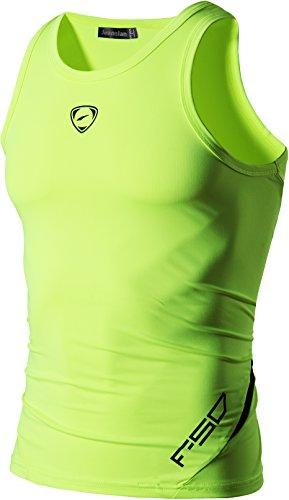 jeansian Hombres Camiseta De Tirantes Deportivas Wicking Quick Dry Vest tee Tank Top Verano Correr Training LSL3306 GreenYellow L