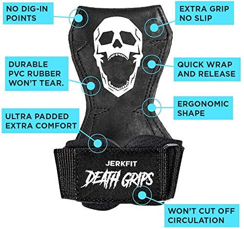 JerkFit Death Grips Ultra Premium Lifting Straps for Deadlifts, Pull Ups, Heavy Shrugs   Lifting Hand Grips with Padded Support   Palm Protection & Increased Grip for Heavy Pull Lifts. (Small)