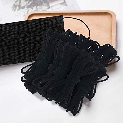 Jeteven 3mm x 100m Cordón Elástico, Cordón Goma Elástico Bandas, Elástico para Material de Costura, Manualidades, Mangas, Banda para el Cabello, Sombrero, Artesanías(Negro)