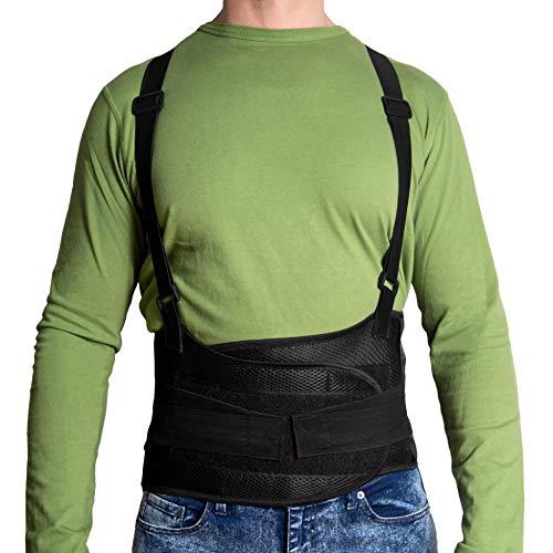 JeVx Faja Lumbar para la Espalda REFORZADA DOBLE CIERRE Y TIRANTES - Talla L para Hombre Cinturon Elastico Reforzado para Trabajo y Deporte Corrector de Postura Ajustable Abdominal Dolor Compresora