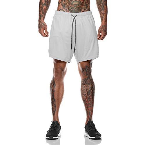 JIANYE Pantalón Corto para Hombre,Pantalones Cortos Deportivos para Correr 2 en 1 para Hombres Secado rápido Transpirable con Forro de Bolsillo Incorporado Gris Oscuro L