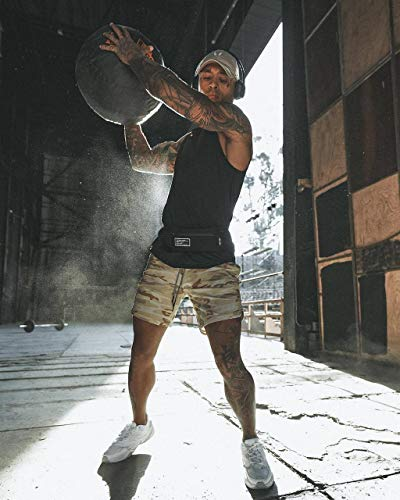 JIANYE Pantalón Corto para Hombre,Pantalones Cortos Deportivos para Correr 2 en 1 para Hombres Secado rápido Transpirable con Forro de Bolsillo Incorporado Albaricoque L