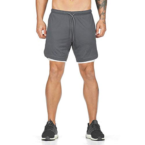 JIANYE Pantalón Corto para Hombre,Pantalones Cortos Deportivos para Correr 2 en 1 para Hombres Secado rápido Transpirable con Forro de Bolsillo Incorporado Gris L