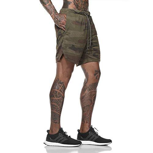 JIANYE Pantalón Corto para Hombre,Pantalones Cortos Deportivos para Correr 2 en 1 para Hombres Secado rápido Transpirable con Forro de Bolsillo Incorporado Ejército Verde M