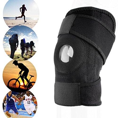 JIEHED - Rodillera, correa ajustable, neopreno elástico, color negro, elástico, cierre de clip, deporte de fitness de alta calidad, totalmente ajustable