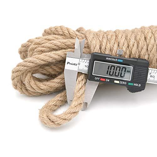 jijAcraft 10M Cuerda de Cáñamo 10mm Cuerda de Yute Gruesa para Manualidades,Decoración,Jardinería,Gato Rascarse
