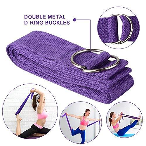 JIM'S STORE Bloque de Espuma+Correa,Bloque de Yoga Ejercico EVA de Alta Densidad para Mejorar Fuerza y Flexibilidad Yoga Pilates Amantes(Morado)