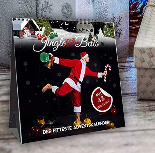 ¡Jingle (them Kettle) Bells! El calendario de Adviento más bonito de Johannes Kwella, 48 entrenamientos (1 pesa rusa y 1 entrenamiento de peso corporal por día), calendario de mesa, 20 x 20 cm