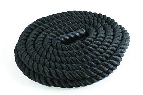 JOWY Cuerda de Batalla 15m, 20kg Battle Rope para Entrenamiento Funcional   Cuerda de Batida 50mm Diámetro Negro