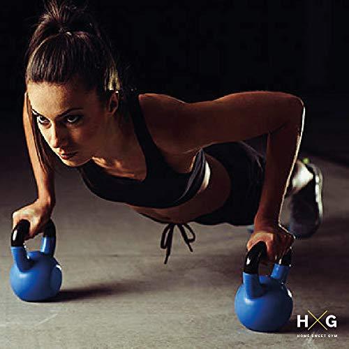 JOWY Pesa Rusa 12kg Ideal para Entranamiento Musculación | Kettlebell 12kg Revestimiento de Vinilo Azul