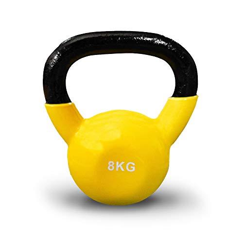 JOWY Pesa Rusa 8kg Ideal para Entranamiento Musculación | Kettlebell 8kg Revestimiento de Vinilo Amarillo