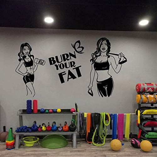 jtxqe Pegatinas para niños Fitness Club Wall Sports Fitness Gym Healthy Muscle Dumbbell decoración de la Pared Lady Fitness Place Fashion Decal 79x42cm