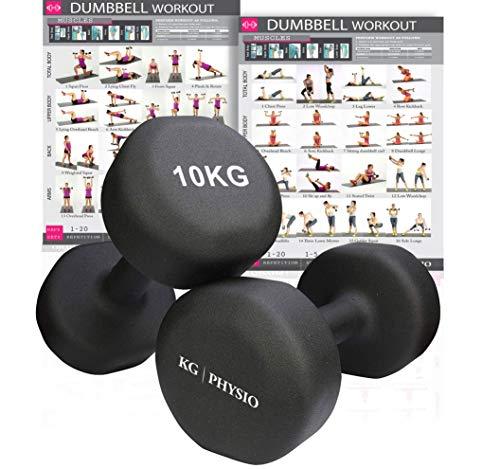 Juego de 2 mancuernas de neopreno KG Physio. Pesos disponibles: 1 kg, 2 kg, 3 kg, 4 kg, 5 kg, 6 kg, 8 kg y 10 kg (se venden por pares). Con póster de tamaño A3, color negro, tamaño 10 kg