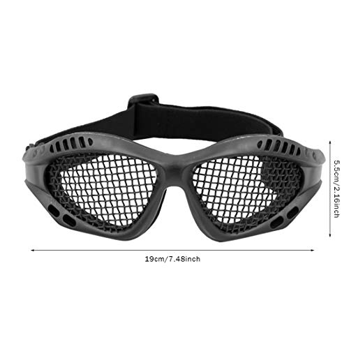 Juego de máscara y gafas de airsoft, máscara de malla de calavera, máscara protectora de media cara con gafas Airsoft, protección para los ojos con banda elástica para juegos CS al aire libre (negro)