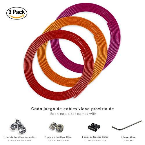 Juego Kit Cables de Repuesto para Comba de Velocidad para Fitness, Crossfit y Boxeo, 3 Unidades de 2,5mm Acero Recubierto PVC, incluye tornillos, tapones, protector de cables y bolsa de transporte