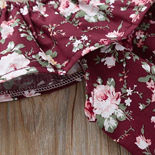 Julhold Verano Niño Niña Ocio Elegante Floral Sin Mangas Tops+Pantalones Cortos de Arco Trajes Conjunto de Ropa 0-3 Años Rojo Vino 24 meses