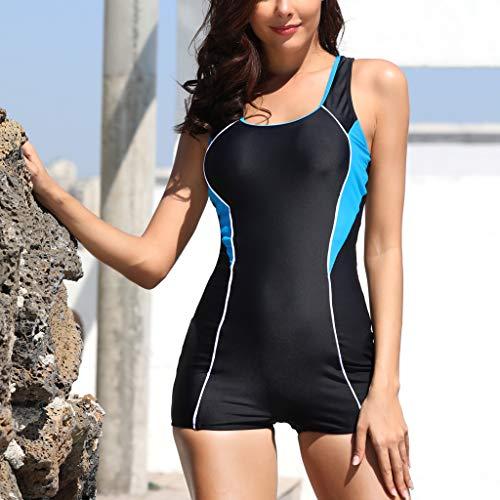 JURTEE Sexy Temperamento Mujer Estilo Deportivo Siamés Bikini Monokini con Push-Up Bañador Slim Fit Ropa De Playa (M, Azul)