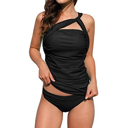 JURTEE Traje De Baño para Mujer Bikini con Pliegues Tankini De Dos Piezas Un Hombro Ojo De La Cerradura Bikini con Cintura Baja (L, Negro)
