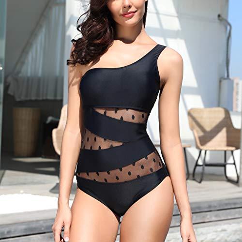 JURTEE Un Hombro Moda Siamés Solid Color Bikini con Punto De Onda Monokini Push-Up Bañador De Verano para Mujer Ropa De Playa (XXXL, Negro)