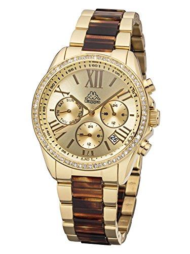 Kappa GMT KP-1413L-D - Reloj de pulsera para mujer con correa de metal e indicador de fecha
