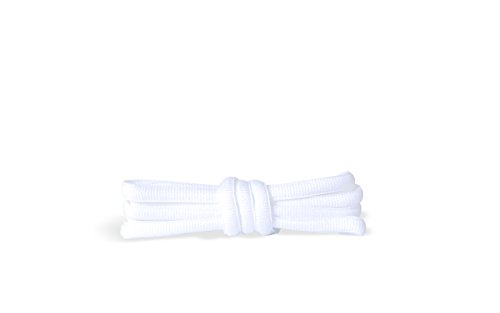 Kaps Cordones Ovalados para Zapatillas Deportivas Tenis Bambas muy duraderos, Cordones Deportivos, Fabricados en Europa, 1 par, negro o blanco (90 cm - 36 inch - 5 to 6 Con ojales/ 01 - blanco)