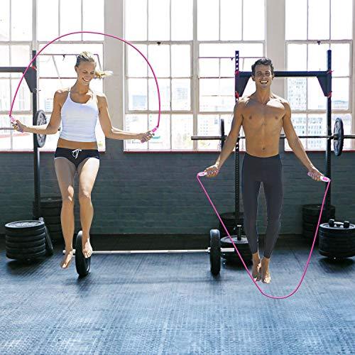 KATELUO Cuerda para Saltar sin Cable, Cuerda de Saltar con Contador, Cuerdas de Saltar Fitness, Cuerda de Salto Ajustable, Cuerda Saltar Digital para Fitness, Ejercicio, Crossfit, Perder Peso