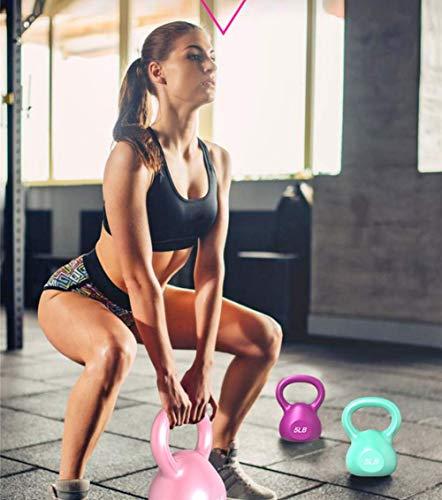 Kettlebell Hierro Fundido Levantamiento de Pesas Ejercicio de Fuerza Entrenamiento para Principiantes e intermedios Adecuado para Yoga Fitness Pilates Fitness para Hombres y Mujeres 5 LB 、 1