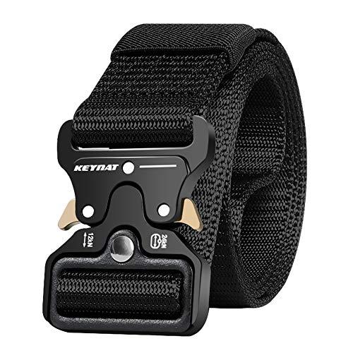 KEYNAT Cinturón Táctico con Hebilla Cobra de Liberación Rápida, 125 * 3.8cm Cinturón Nylon para Hombres Hebilla Metal Estilo Militar Servicio Pesado