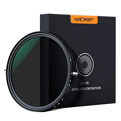 K&F Concept - 2 en 1 Filtro Polarizador y Filtro Densidad Neutra Ajustable 77mm Slim ND2-ND32 MRC para Cámara Lente NO X Spot con Funda