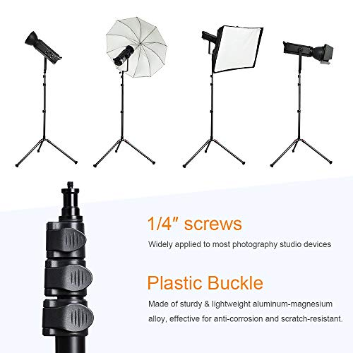 K&F Concept 2 Pack 200cm Soporte para iluminación Plegable 180° de Aluminio con Base de Trípode de Trípode para Estudio de Fotografía, Incluye 2 Bolsa de Transporte