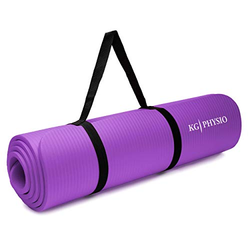 KG Physio Esterilla Yoga (1cm), Colchoneta de Fitness para Gimnasio, Pilates o en Casa con Tirante (Dentro de la colchoneta) 183cm x 61cm x 1cm (Grueso)