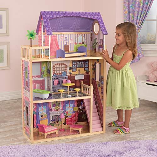 KidKraft- Kayla Casa de muñecas de madera con muebles y accesorios incluidos, 3 pisos, para muñecas de 30 cm , Color Natural/Rosa/Violeta (65092 )