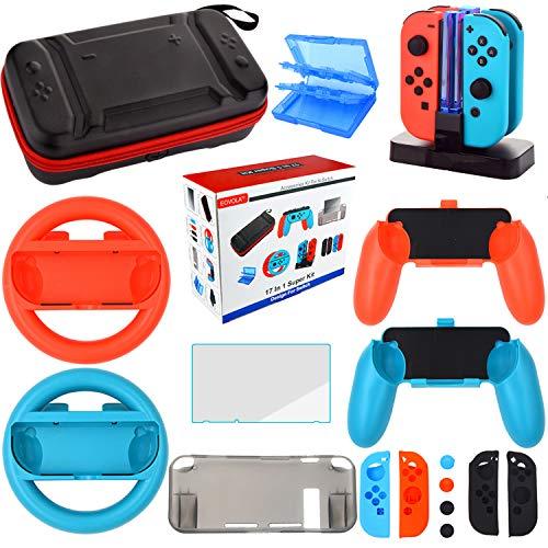 Kit Accesorios para Nintendo Switch - Funda Protector de Pantalla para Switch Consola - Estuche De Juegos - Funda de Silicona Grips Wheel Caps para Nintendo Switch Joy-Con Mandos (17 in 1)