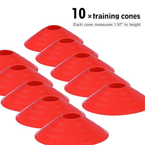Kit de Escalera de Agilidad Velocidad de Entrenamiento de Velocidad 9Ft Escalera Plana + 10 Unidades de Conos de Disco para Coordinación Entrenamiento Atlético (rojo)