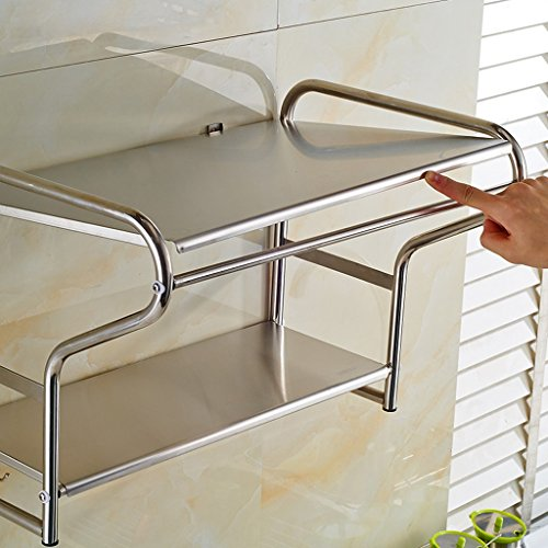 Kitchen furniture Muebles de Cocina 304 Acero Inoxidable Microondas Racks de Pared Racks de Cocina Horno Racks de Almacenamiento de 2 Pisos Almacenamiento de Utensilios de Cocina (Tamaño : L)