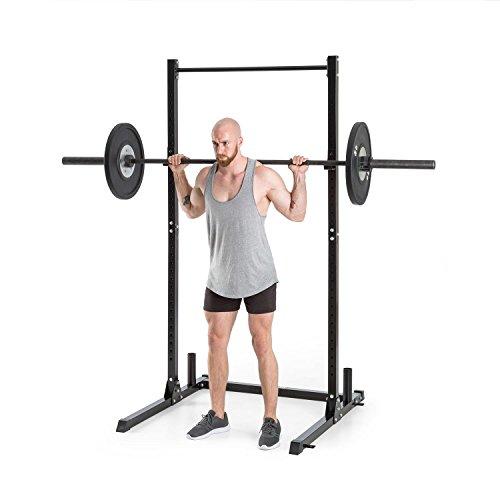 Klarfit HR 1100 Semijaula - Estación Fitness, Jaula de Pesas, Entrenamiento de Gimnasio, Barra de dominadas Fija, 2 Ganchos J Regulables, 32 Posiciones Altura, Capacidad hasta 150 kg, Negro
