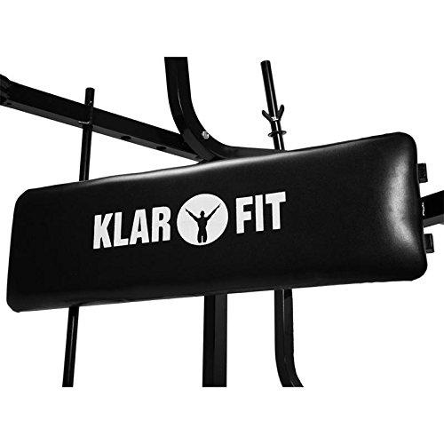 Klarfit Workout Hero Multistation Banco de Musculación Banco de Entrenamiento Multipower Curl Para Brazo y Pierna con Pesas Hasta 160Kg Respaldo Regulable a 3 Niveles Acero Negro